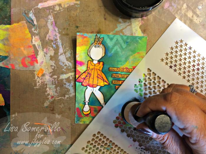 Step 23 add black over stencil Lisa Stencils August 5