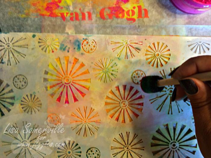 Step 6 add pink over stencil Lisa Stencils August 5