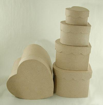 Set/5, Heart Scalloped Paper Maché Boxes [1009685] - Image 2