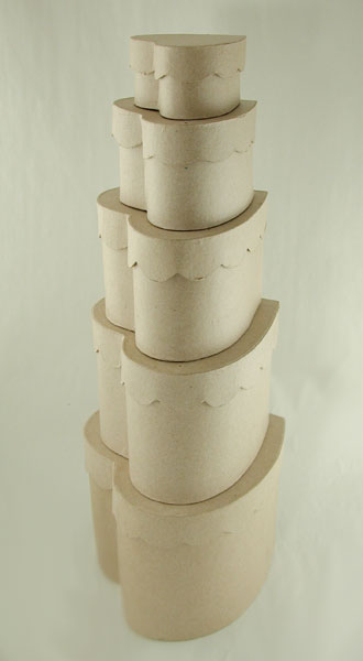 Set/5, Heart Scalloped Paper Maché Boxes [1009685]
