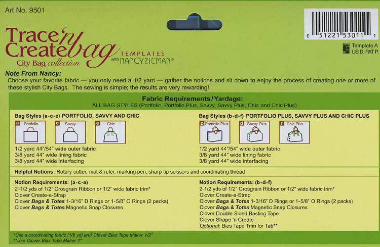 Trace 'n Create Bag Templates with Nancy Zieman - City Bag Collection [9501] - Image 2