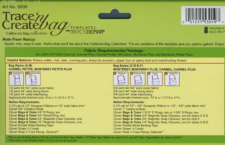 Trace 'n Create Bag Templates with Nancy Zieman - California Collection [9509] - Image 2