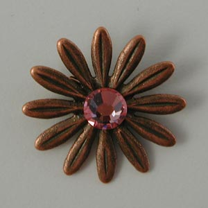 Nunn Designs Ornamental Brads - [jbc-db] Jewelled Daisy Brad, Copper