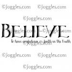 Joggles Cling Mounted Rubber Stamp - Definition - Believe [33659]