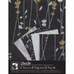 Black Ink Creative International Papers Deco Paper Pack [DP-701] Meadow Flowers Black, Silver, and Gold