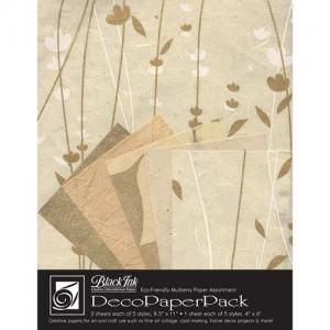 Black Ink Creative International Papers Deco Paper Pack [DP-707] Meadow Flowers Ivory and Gold