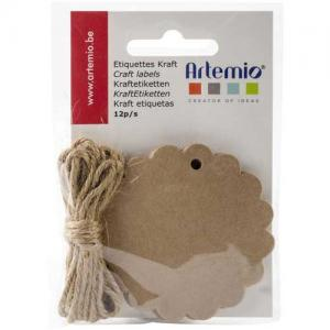 Artemio Tags with String - Scalloped Circle