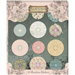 Santoro Mirabelle Accordian Stickers - Flowers with Button Middles [SNST002]