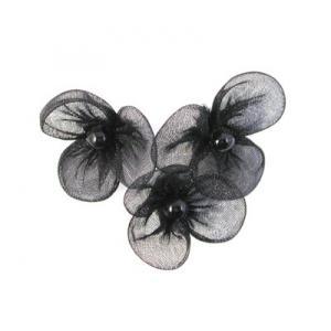 Beaded 3 Petal Voile Flowers - [14] Noir
