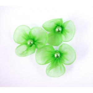 Beaded 3 Petal Voile Flowers - [16] Chartreuse