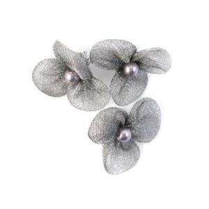Beaded 3 Petal Voile Flowers - [38] Steel Grey