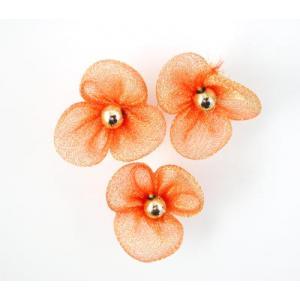 Beaded 3 Petal Voile Flowers - [46] Golden Orange