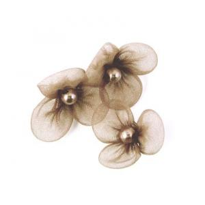 Beaded 3 Petal Voile Flowers - [48] Mocha