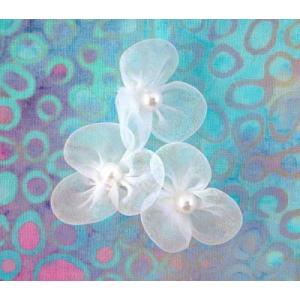 Beaded 3 Petal Voile Flowers - [51] Linen