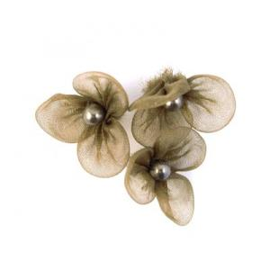 Beaded 3 Petal Voile Flowers - [57] Olive