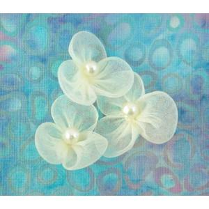 Beaded 3 Petal Voile Flowers - [79] Pale Yellow