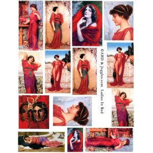 Joggles / Altered by Design Collage Sheets - Ladies In Red