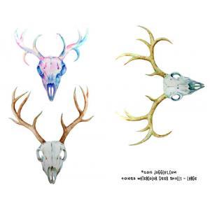 Joggles Collage Sheets - Watercolor Deer Skulls Large [JG401083]