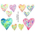 Joggles Collage Sheets - Watercolor Hearts I Large [JG401085]