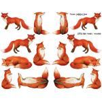 Joggles Collage Sheets - Watercolor Little Red Foxes [JG401086]