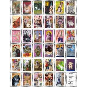 ARTchix Faux Postage Sticker Sheet - P318 Chixies PreciousPets