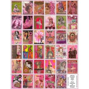 ARTchix Faux Postage Sticker Sheet - P319 Chixies' Pink Post