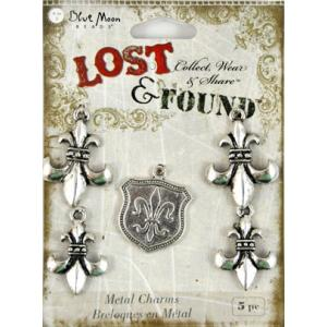 Blue Moon Beads Lost and Found Metal Charms - [12382] Antique Silver, Fleur de Lis