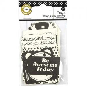 Canvas Corp Printed Tags - Black On Ivory - [TAG1438]
