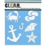 "Clear Scraps 12"" x 12"" Stencil - Beach Fun"