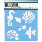 "Clear Scraps 12"" x 12"" Stencil - Ocean Friends"