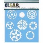 "Clear Scraps 12"" x 12"" Stencil - Sprockets and Gears"