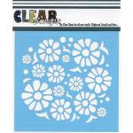"Clear Scraps 6"" x 6"" Stencil - Flower Power"