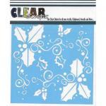 """Clear Scraps 6"""" x 6"""" Stencil - Holly Fun"""