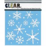 """Clear Scraps 6"""" x 6"""" Stencil - Ice Crystal Snowflakes"""