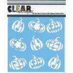 "Clear Scraps 6"" x 6"" Stencil - Jack O Lanterns"