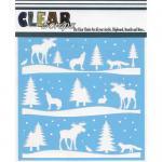 """Clear Scraps 6"""" x 6"""" Stencil - Rustic Forest"""