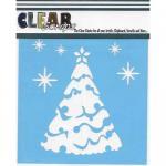 """Clear Scraps 6"""" x 6"""" Stencil - Snow Tree"""