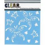 """Clear Scraps 6"""" x 6"""" Stencil - Butterfly Teardrops"""