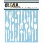 """Clear Scraps 6"""" x 6"""" Stencil - Kitchen Utensils"""