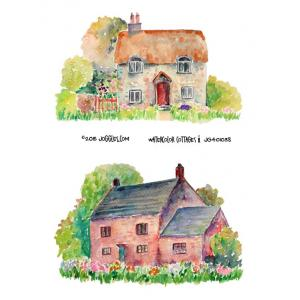Joggles Collage Sheets - Watercolor Cottages 2 [JG401038]