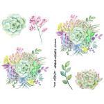 Joggles Collage Sheets - Watercolor Succulents III [JG401034]