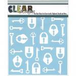 """Clear Scraps 6"""" x 6"""" Stencil - Keys n Locks"""