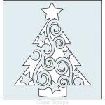 "Clear Scraps 6"" x 6"" Stencil - Swirl Christmas Tree"