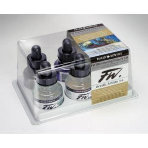 Daler Rowney FW Acrylic Ink Set - Shimmering Colours