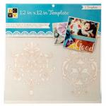 """Diecuts With A View 12"""" x 12"""" Template - Damask [00013]"""
