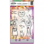 Dina Wakley Media Clear Stamps and Stencil Set - Scribbly Trick or Treat [MDZ53613]