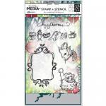 Dina Wakley Media Clear Stamps and Stencil Set - Scribbly Vintage Holiday [MDZ52470]
