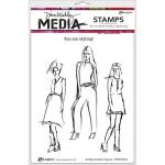 Dina Wakley Media Unmounted Rubber Stamp - Scribbly Fashion Figures