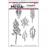 Dina Wakley Media Unmounted Rubber Stamp - Scribbly Leaves and Pods