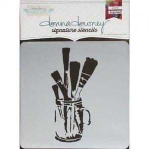 Donna Downey Signature Stencils - Brushes In Jar [DD-096]